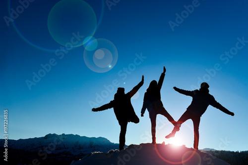 Fototapeta success of cheerful, energetic and happy mountaineers