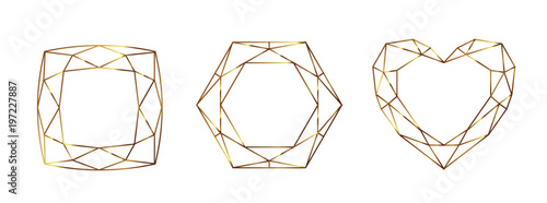 Set of Geometrical polyhedrons, frames with place for text Wallpaper Mural