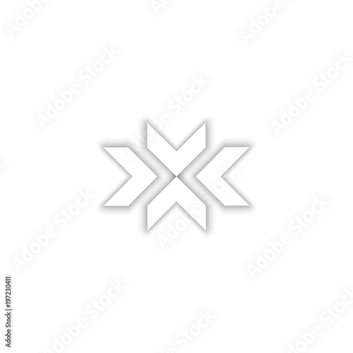 Valokuvatapetti Convergent arrows logo in the shape of the letter X symbol, 3D emblem of the abs