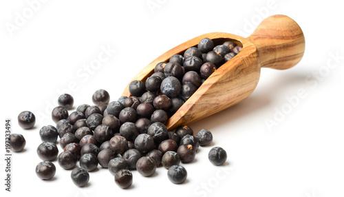 Fototapeta dried juniper berries in the olive wooden scoop obraz