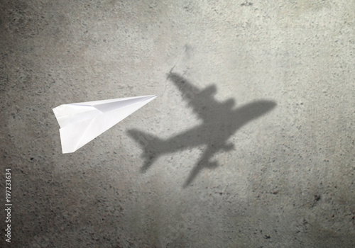 Paper plane shadow concept Wallpaper Mural