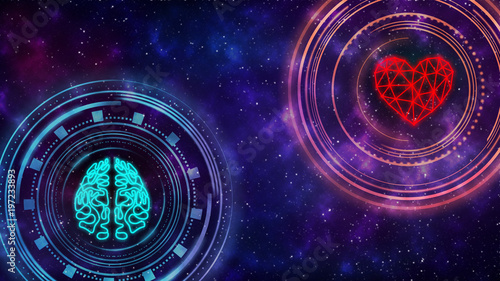 Fotografia  Heart and brain. Digital interface. Starry sky in the background