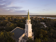 Low Aerial View Of Church Stee...