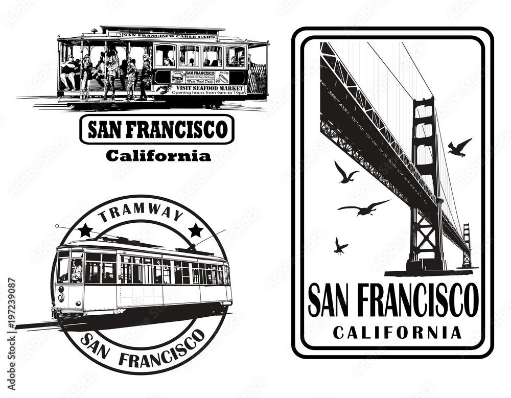 Photo & Art Print Set of very detailed logos about San Francisco ...