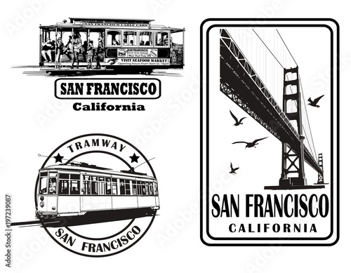 Deurstickers Art Studio Set of very detailed logos about San Francisco