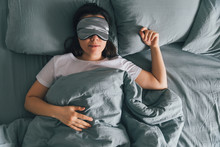 Woman Sleep In Eye Patch In Gr...