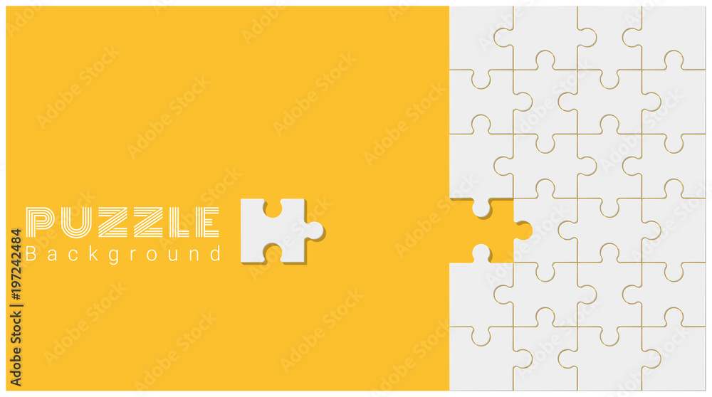 Fototapeta Abstract conceptual background with incomplete jigsaw puzzle , vector , illustration