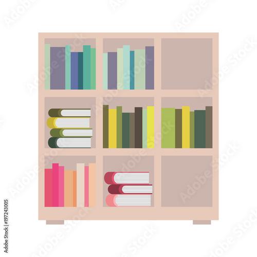 Bookshelf And Books Encyclopedia Read Vector Illustration