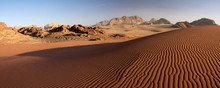 Panorama Of Beautiful Dune In Wadi Rum Desert In Sunset Time In Jordan