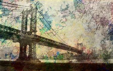 Fototapeta Grunge Manhattan Bridge