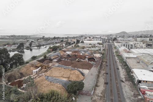 Fotomural Bird's Eye View of Berkeley Amtrak and Berkeley Marina