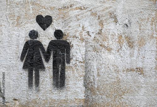 graffiti enamorados pareja corazón 4M0A8692-f18 Canvas Print