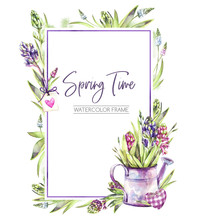 Hand Painted Vertical Frame With Hyacinths Flowers, Leaves And Watering Can. Spring Rustic Watercolor Illustration In Violet Shades. Horticulture Hobby. Can Be Used For A Poster, Wedding Desings.