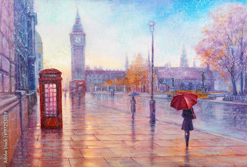 Street view of london, bus on road. Artwork. Big Ben.