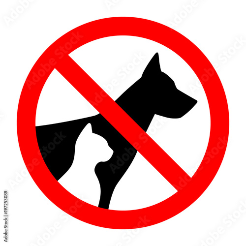 Fotografía  Prohibition sign stop pet dog and cat simple animals silhouette