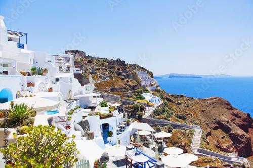 Santorini Island, Greece, Europe  Traditional white Greek