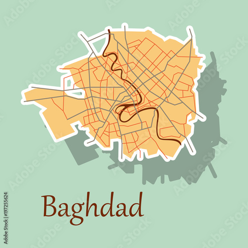 Fotografija  Baghdad city map - Iraq. Sticker. Isolated on background