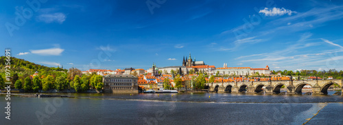 Poster Prague Prague panorama city skyline with Old Town, Prague Castle, Charles Bridge, St. Vitus Cathedral. Prague, Czech Republic