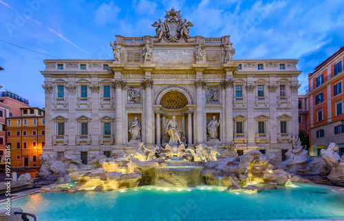 Canvas Prints Rome Night view of Rome Trevi Fountain (Fontana di Trevi) in Rome, Italy. Trevi is most famous fountain of Rome. Architecture and landmark of Rome