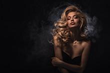 Beauty Headshot Of Fashion Blonde Model