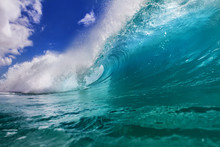 Ocean Colorful Bright Wave With Green Blue Water And Splashed Lip