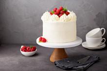 Vanilla Raspberry Cake With White Frosting