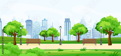 Fotografiet Vector illustration of a beautiful summer park, with green trees and benches, panoramic view on big modern cityscape with skyscrapers