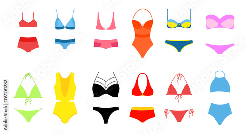 Fototapeta Vector illustration of women s bikini set, collection of bright colors swimsuit in flat design on white background