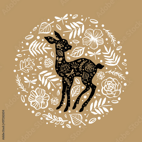 Silhouette of little baby deer, fawn in the flower pattern circle плакат