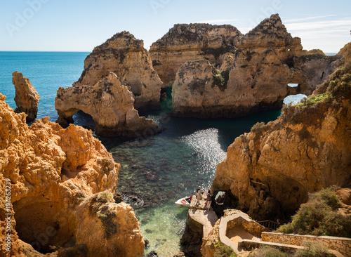 Foto op Aluminium Grijze traf. Beaches and rocks of Ponta da Piedade