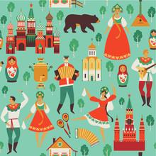 Russian Sights And Folk Art. Flat Design Vector Illustration. Seamless Pattern Vector.