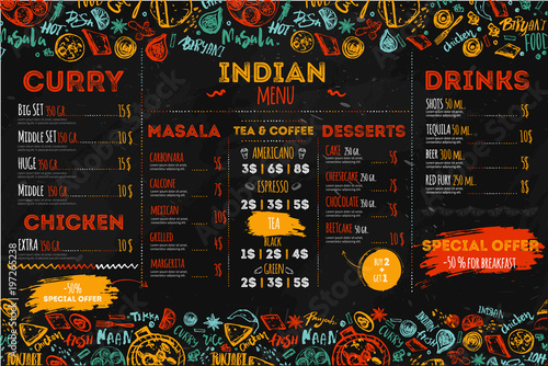Fototapeta Hand drawn Indian food menu design with rough sketches and lettering. Can be used for banners, promo obraz