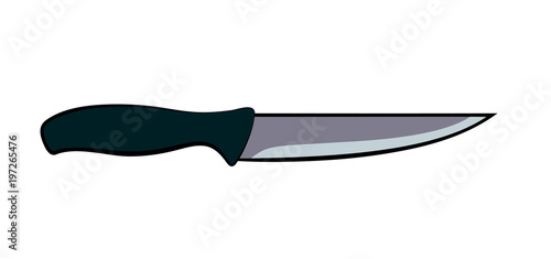 Vector illustration, flat cartoon kitchen knife with dark grey handle isolated o Fototapeta