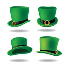 Set Of Saint Patrick's Day Leprechaun Hats. EPS10 Vector Illustration.