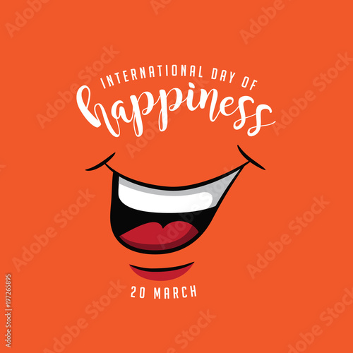 Fotografie, Obraz  International day of happiness design with smiling mouth