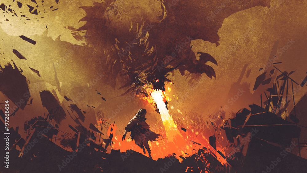 Fototapeta fantasy scene showing the young boy running away from the fire dragon, digital art style, illustration painting