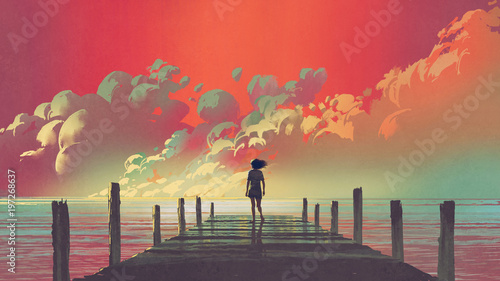 Photo Stands Coral beautiful scenery of the woman standing alone on a wooden pier looking at colorful clouds in the sky, digital art style, illustration painting