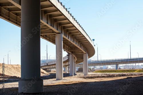 Photo geometry of the overpass bridge, view under the bridge