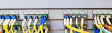Panorama Of Optical Links Are On The Central Data Center Router.The Front Panel Of The Master Router.