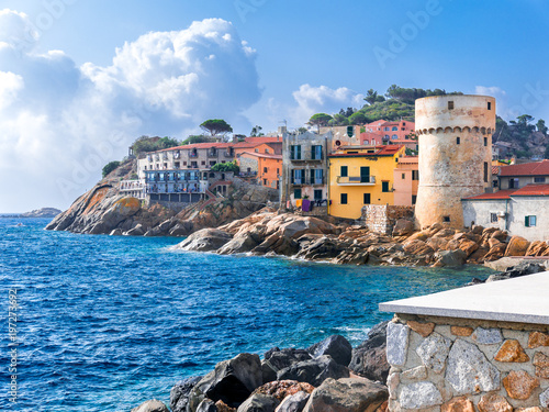 Stampa su Tela  The perfect tiny seaside village of Giglio Porto with multi colored houses, an ancient defensive tower and a rocky coastline against a deep blue Mediterranean sea