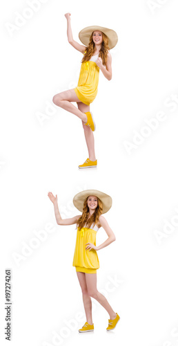 Young woman in yellow summer dress isolated on white Poster
