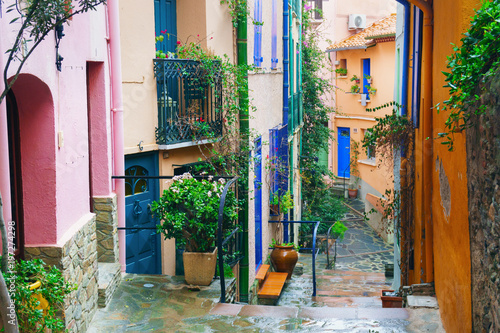 Collioure, coastal village in the south of France, Mediterranean sea, Languedoc Roussillon, Pyrenees Orientales.