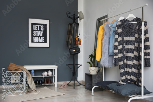 Fotografie, Obraz  Stylish hallway interior with clothes rack and coat stand