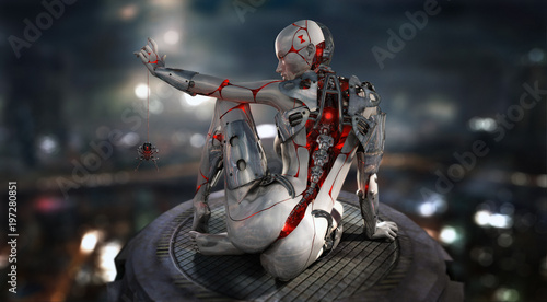 female cyborg android character Canvas Print