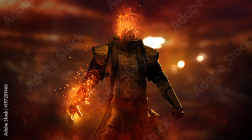 Obraz na plátně warrior character casting spell