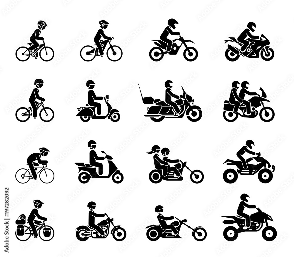 Fototapeta Collection of Motorcycles and bicycles icons. Moto vehicles symbols vector stock illustration.