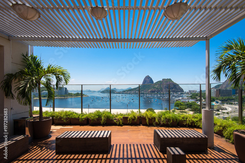 Modern Terrace With the View to the Sugarloaf Mountain and Botafogo Beach, in Ri Canvas Print