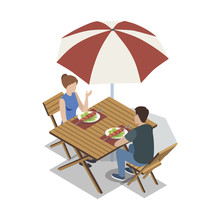 Isometric View Of Couple Sitti...