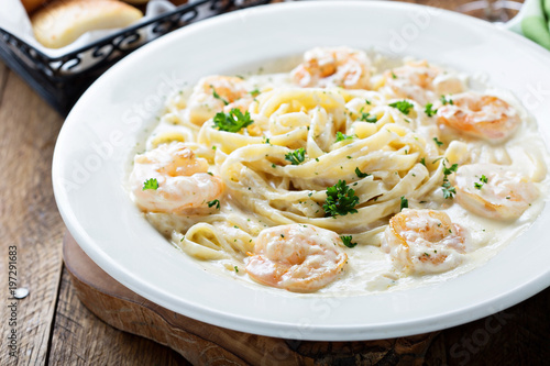 Fettuccine Alfredo with shrimp Wallpaper Mural