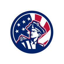 Icon Retro Style Illustration Of An American Patriot Or Militia Minuteman Looking Up With United States Of America USA Star Spangled Banner Or Stars And Stripes Flag Inside Circle Isolated Background.
